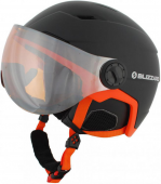 Double Visor ski helmet, black matt/neon orange, orange mirror